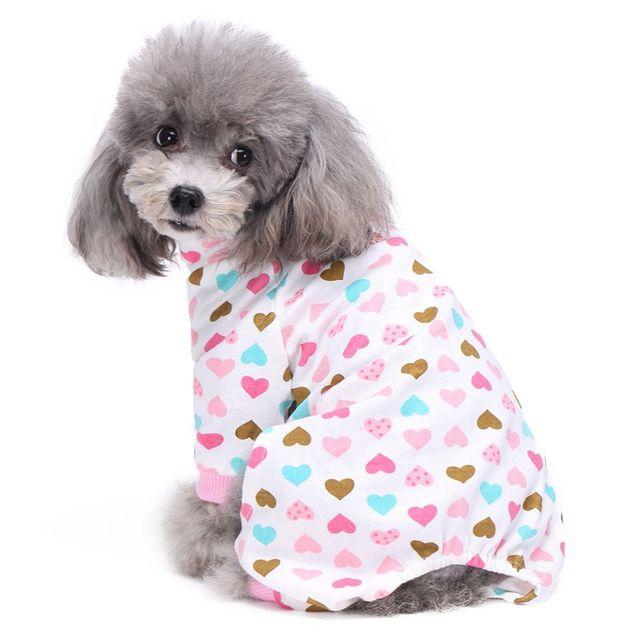 Perro pijamas cuello alto caramelo de setas patrón de algodón ...