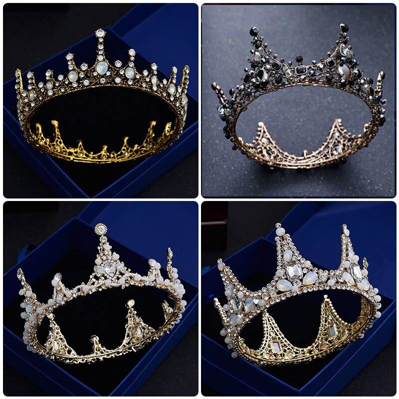 Black Wedding Hairstyles With Crown: Vintage Girl Full Circle Crown Black Round Tiara Gold