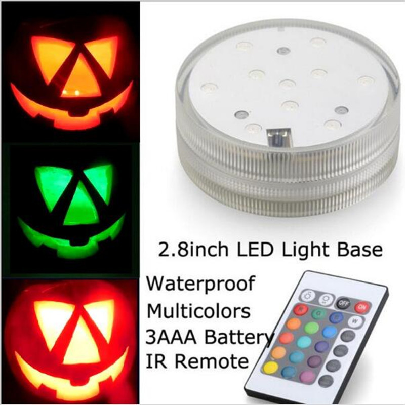 Remote Dikendalikan Halloween Dekorasi Pumpking Submersible LED Tea Light  dengan 10 pcs Putih Hangat Putih RGB SMD Led 01e29c492d