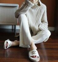 2018 осень зима новый чистый кашемир водолазка женский корейский свободные свитер вязаный утолщенной база
