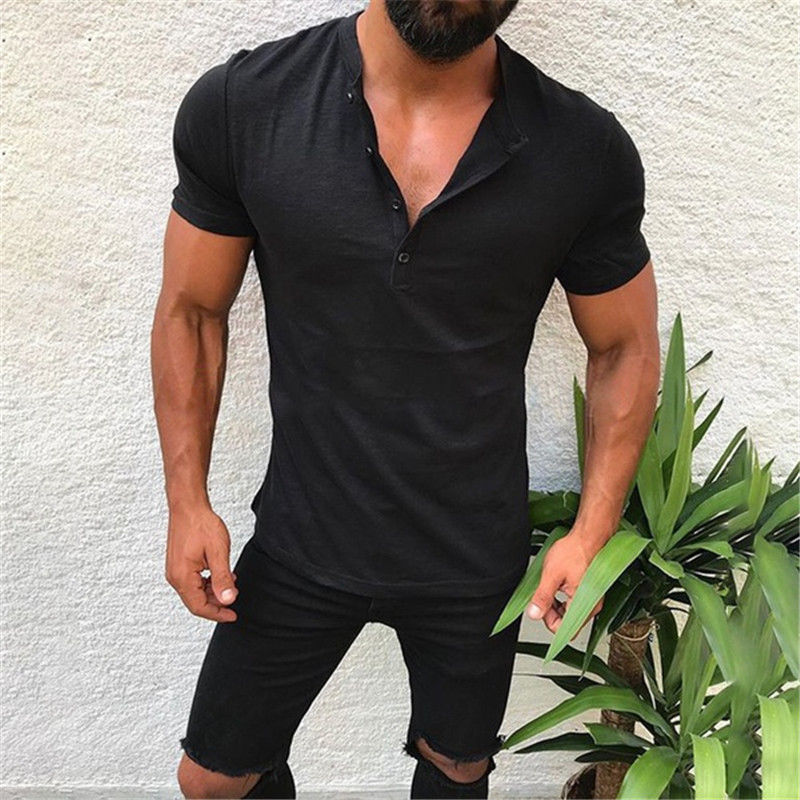 Newly Men's Slim Fit V Neck Short Sleeve Muscle Tee   T  -  shirt   Fashion Stylish Casual Tops Solid Color Cotton Soft Henley   T     Shirts