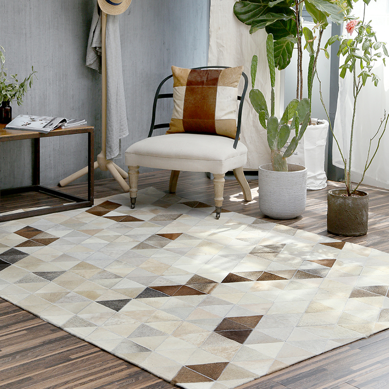 2018 New European Style Luxury Geometric Carpets Living Room Bedroom Tea Table Big Rug Hand-Stitched Rugs Cowhide Carpets