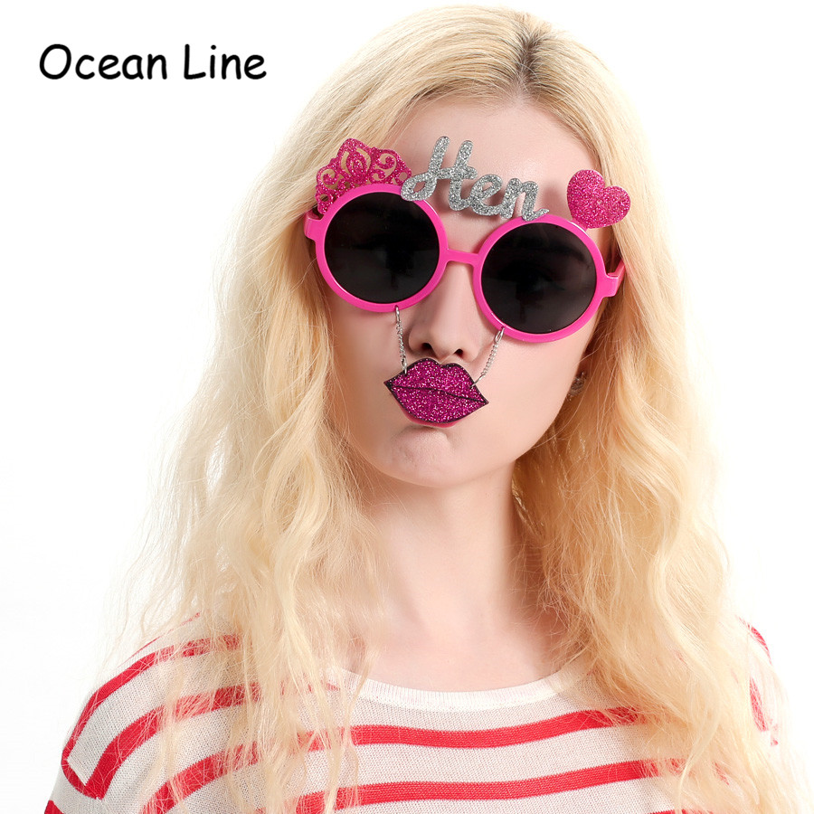 d485465c9d1 Beautiful Pink Shiny Hen Party Glasses Hanging Lips Costume Women Accessories  Night Wedding Events Party Supplies Decoration