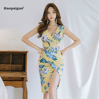 2018 Plus Size Women Pencil Dress Summer Yellow Sleeveless V neck Knee length Print Floral Casual Office Dress Party Club Dress