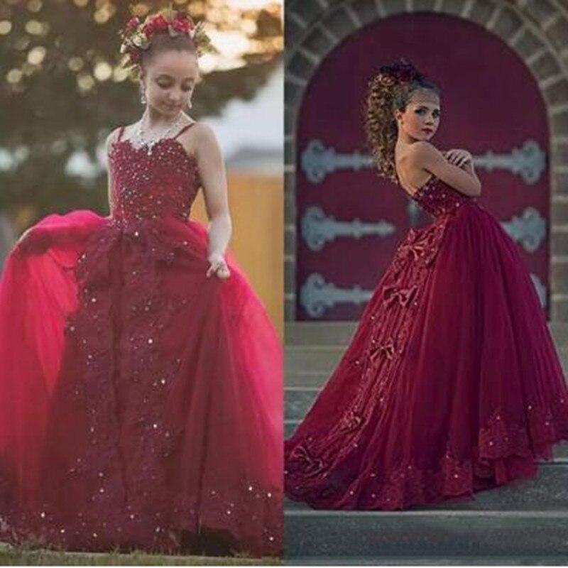 8d1913f705bd5 Étage D anniversaire Fête Robes Mariage Formelle Fille Pour Robe Vêtements  Bourgogne Fleur Bal Filles Tenue De Princesse ...