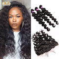 13x4 Lace Frontal Closure With Bundles Brazilian Loose Wave With Closure Human Curly Hair Pre Plucked Lace Frontal With Bundles