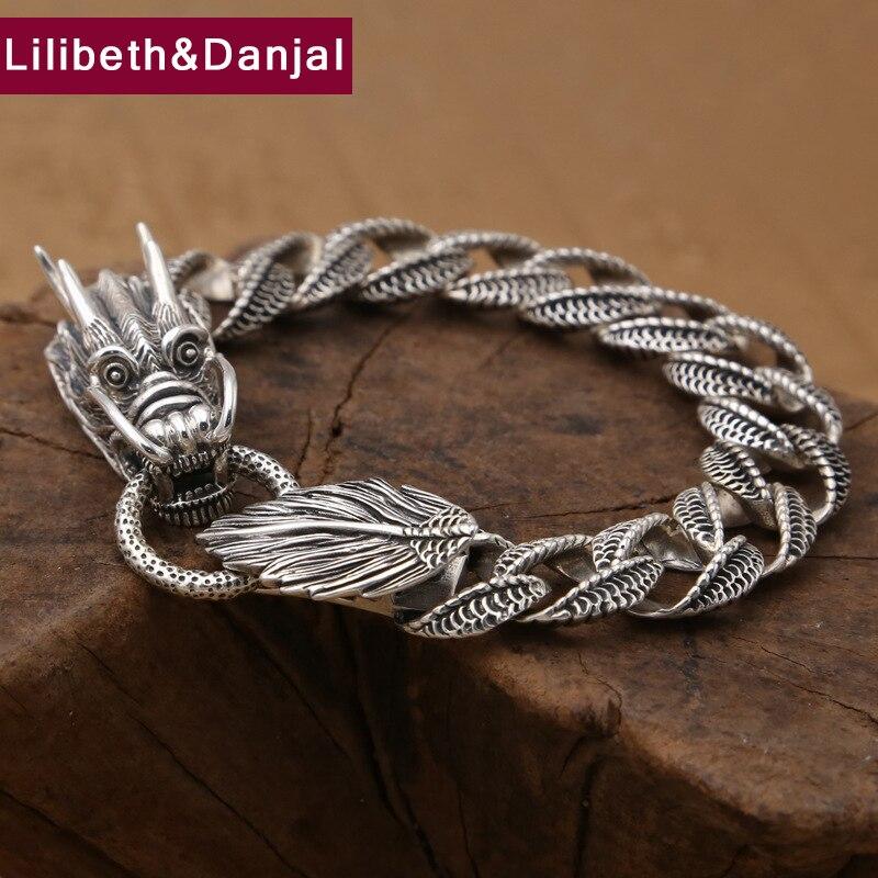 Friendship Survival Bracelet 100 Real 925 Sterling Silver Jewelry for Men Women Weave Dragon Chain Bracelet