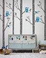Gran Tamaño Del Árbol de Abedul Bosque Con Búhos pegatinas de Pared Parque Infantil Y pájaros Tatuajes de Pared Arte Mural Vinilo Tatuajes de Pared Del Sitio Del Bebé Decoración