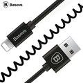 Baseus Упругого Растянуть 8pin USB 2.0 Кабель Синхронизации Данных Зарядки Весна шнур Для iPhone 6 6 S Plus 5 5S SE iPad IOS9.3 Кабель