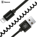 Baseus Flexible Elastic Stretch 8pin USB 2.0 Cable Data Sync Charging Spring Cord For iPhone 6 6S Plus 5 5s SE iPad IOS9.3 Cable