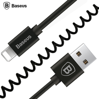 Baseus Flexible Elastic Stretch USB Cable Data Sync Charging Spring Cable For iPhone 7 6 6S Plus 5 5s SE iPad Mobile Phone Cable