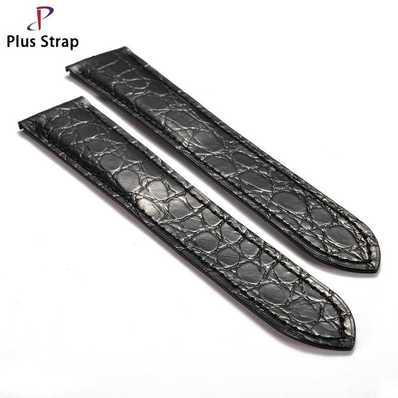 Plus Strap Real Crocodile Genuine Leather Watch Strap for Tank SOLO Women&Men Watches Accessories Wristband no Buckle plus strap 20 21 22mm men real crocodile skin watch band for watch strap replacement wristband women belt no buckle high quality