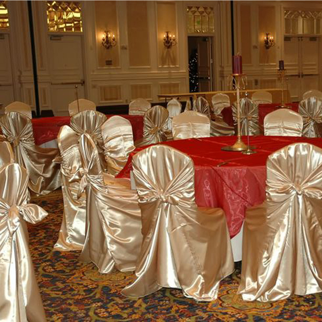 Burgundy Chair Covers Wedding Latt Table And Chairs Hot Sale 1pcs Self Tie Satin Cover Banquet Party Decoration Product Supplies110cm 140cm Free Shipping