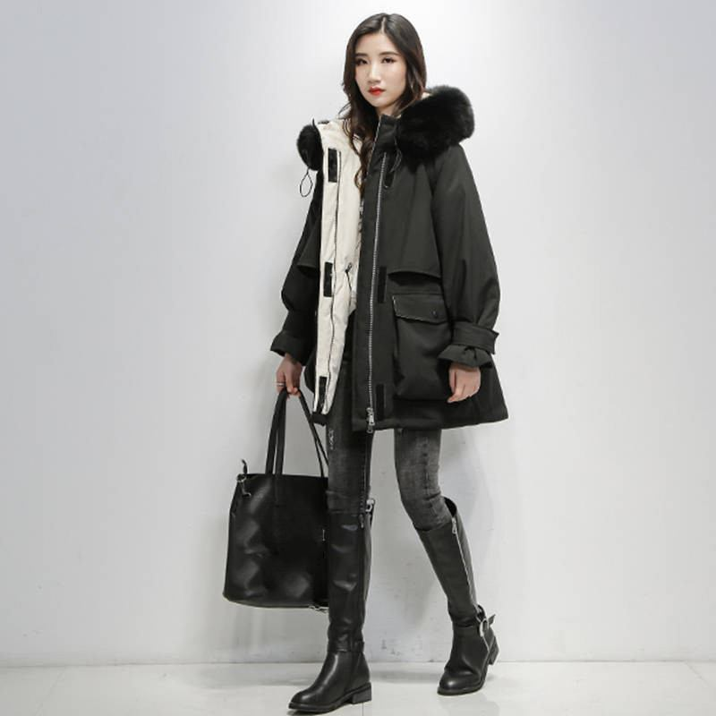 2019-Winter-Women-Real-Natural--Fur-Collar-Hooded-Down-Loose-Coat-Parka-Female-Thick-Warm (4)