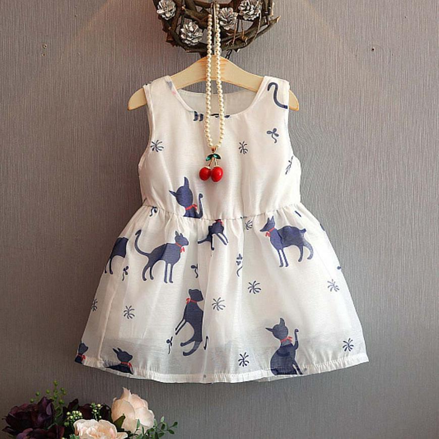 Cute Cartoon Cats Printed Girl Dress Kid Girl Princess Party Clothes Print Sleeveless Tulle Tutu Dresses baby girl clothing 2-6T china brand l0371 educational toys for children diy building blocks 00371 compatible with lego