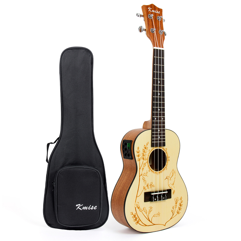 Kmise Solid Spruce Ukulele Concert Electric Acoustic Ukelele Uke 23 inch with Gig Bag