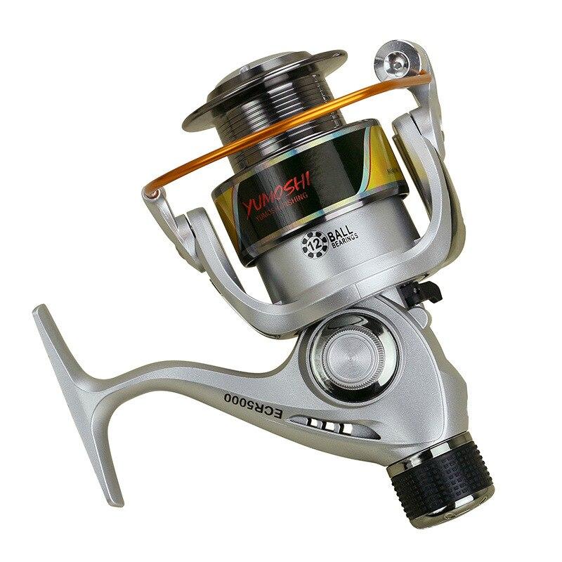 Yumoshi rodas fiação carretel de pesca 5.5: 1 12bb série ecr roda roda fiação carretilha tipo isca mar rocha isca pesca