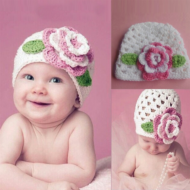 Baby Mädchen Nette Große Blume Strickmütze Cap Für Baby Kids Infant Kleinkind Mädchen Warme Herbst Winter Beanie # N30 Jade Weiß