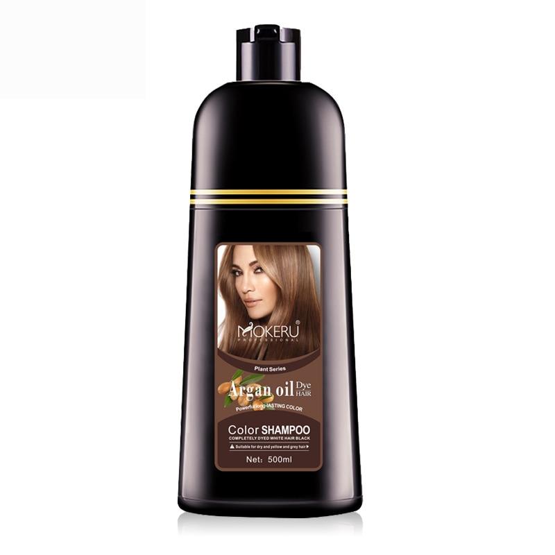 Mokeru 1pc 500ml Natural Argan Oil Essence Instant Dark Brown Hair Dye Shampoo Permanent Hair Color Shampoo Dying Hair For Women