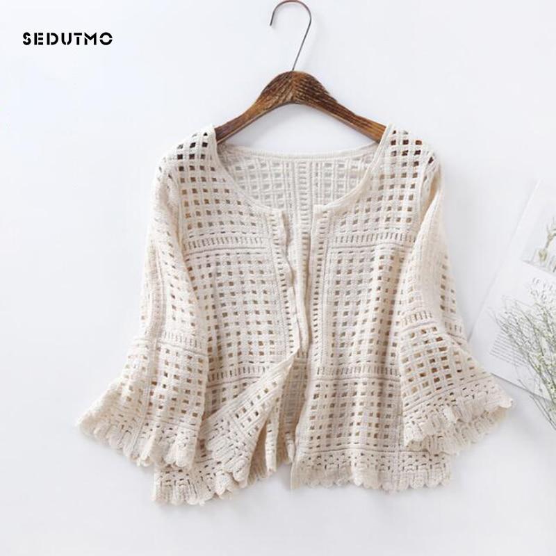 SEDUTMO 2018 Summer Lace Cardigan Blouse Women Knitted Tunic White Kimono Blouses Autumn Boho Tops Plus Size Beach Shirt ED235 boho top kimono blouseblouse autumn - AliExpress