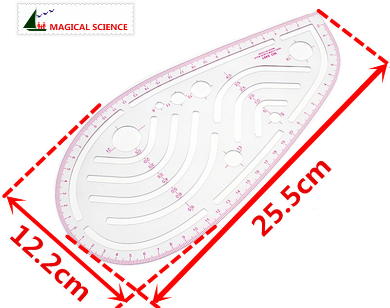 ᗛVariar forma curva Regla 24 cm ropa transparente universal regla ...