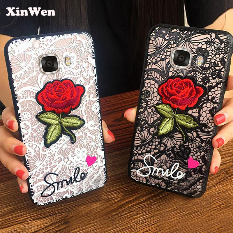 XinWen luxury 3d cute Fashion Rose Flower hard PC Phone cover coque case For samsung galaxy C7 C <font><b>7</b></font> <font><b>Sexy</b></font> Woman Lace Back cases image