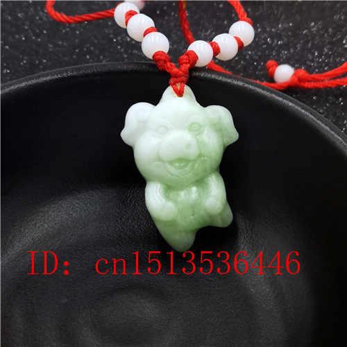 Pendiente del zodíaco chino de Jade blanco Natural, collar con abalorios, joyería, accesorios de moda, amuleto de la suerte tallado a mano, regalos