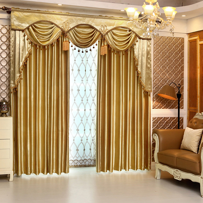 Custom Curtains Simple European Luxury Solid Gold Color