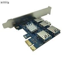 Adaptador PCI E a PCI E 1 vuelta 4 ranura pci express 1x a 16x USB 3,0 Mining tarjeta elevadora especial convertidor PCIe para minería BTC Miner