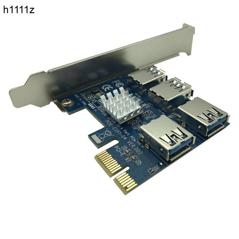 PCI-E al adaptador PCI-E 1 vuelta 4 ranura PCI-Express 1x a 16x USB 3,0 mineras especiales tarjeta vertical PCIe Converter para BTC minero minería