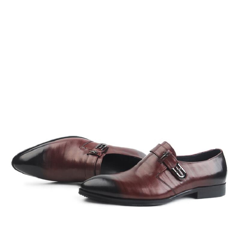 Männer Schöne Marke Leder Rindsleder Schnalle Business Schuhe wein Komfortable Männlichen Schwarzes Kleid rot Oxfords Luxus Mycolen Tragen IESqdE