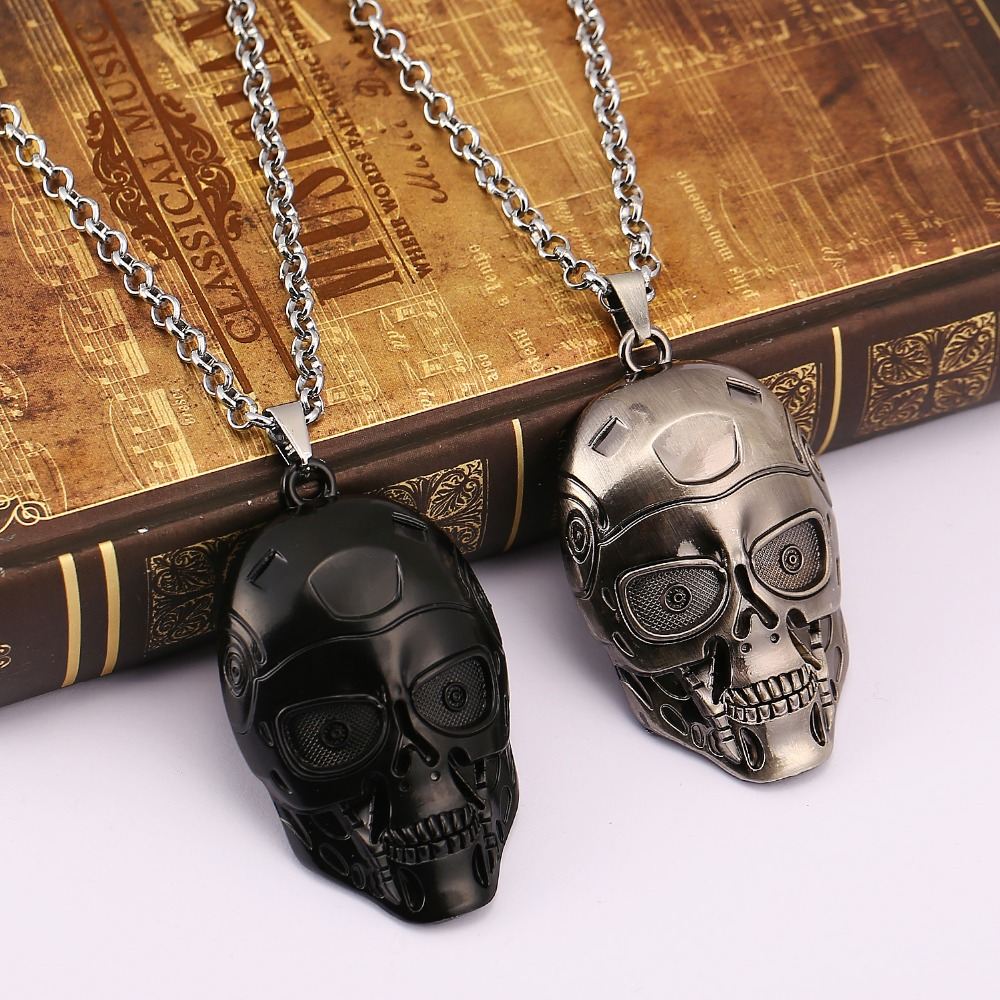 2016 new arrived Europe and America movies terminator necklace black&silver plated mask punk style pendant necklace image