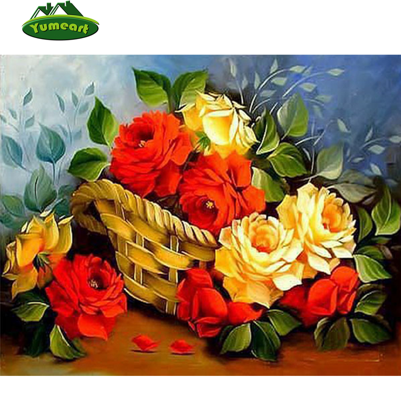 Yumeart Official Store 5D DIY Diamond Painting Red and Yellow Rose Flower Cross Stitch Square Diamond Embroidery Mosaic Kits Home Decor Paintings