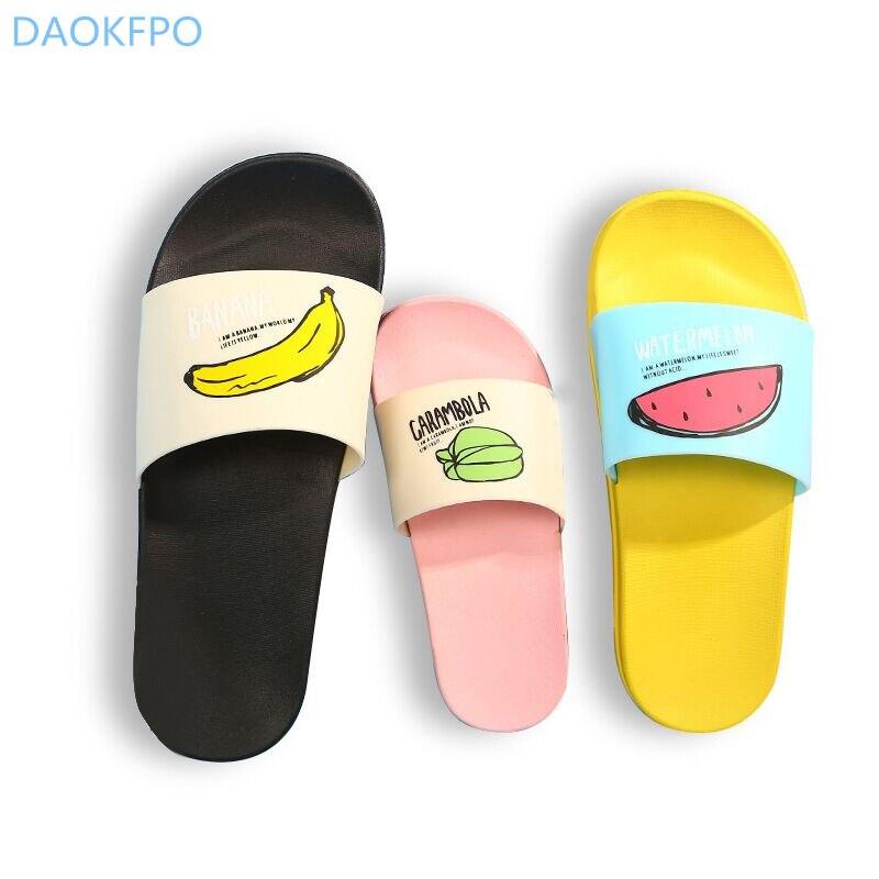2018 nuevas mujeres Zapatillas moda verano bellas damas Casual Slip On fruta jalea playa Flip Flops mujer Skid interior zapatos