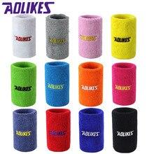 AOLIKES 8*11cm muñequeras para el gimnasio toalla de mano muñeca apoyo directo deportes de baloncesto Sweatbands de algodón de la muñeca brazales A-0230