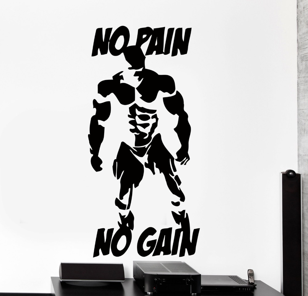 Bodybuilder Wallpaper With Quotes Wall Stickers Be Strong No Pain No Gain Bodybuilding