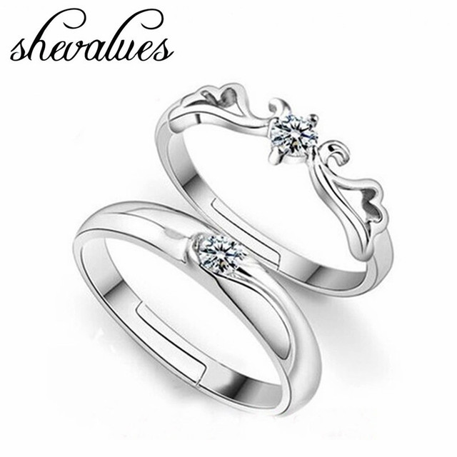 lovers silver wing adjustable band crystal ring jewelry men and women valentine couple love wedding - Wedding Rings For Men And Women