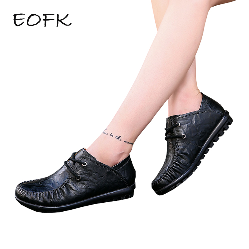 EOFK Women Flat Shoes Woman Flats Spring Autumn High Quality Soft Lace Up Concise Casual Women's Leather Shoes Female Shoe стоимость