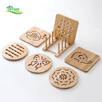 Bamboo mat 7 pieces household insulation pads non slipper disposable environmental material