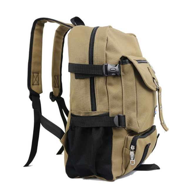 New Fashion arcuate shouider strap zipper solid casual bag male backpack school bag canvas bag designer backpacks for men 1