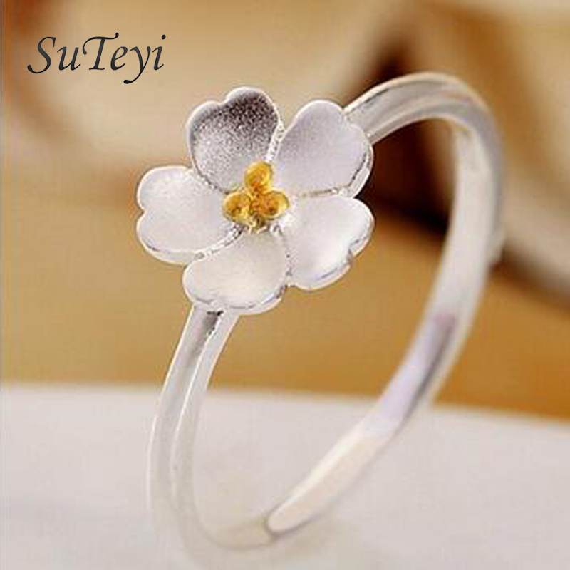 SUTEYI fashion Cherry blossom han edition contracted classic temperament ring rings opening ring children lady ring
