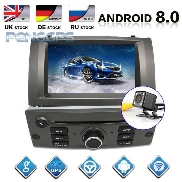 IPS Screen Android 8.1 System 8 Core Car Radio for Peugeot 407 2004-2010 GPS Navigation CD DVD Player Bluetooth Multimedia Unit