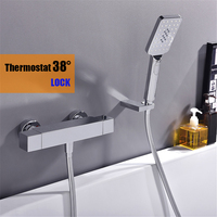High quality bthroom thermostatic Shower faucet brass chromed Bathtub faucet shower set with hand shower
