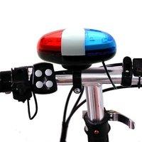 Bicicleta da bicicleta 6 LED Luz 4 Sons Trompete Electonic Chifres Sino Trompete luz MTB Super Alto Siren Som Polícia Estilo Ciclismo partes