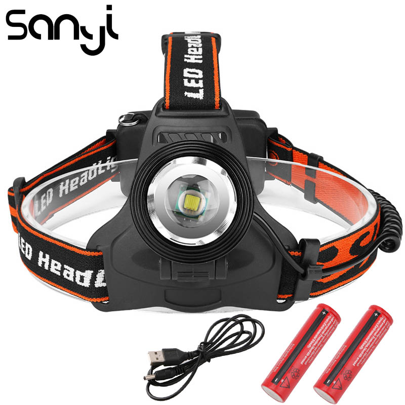 SANYI LED T6 Headlamp USB Power By 2*18650 Battery Flashlight Forehead 3 Modes Headlight Camping Hunting Lamp Lantern