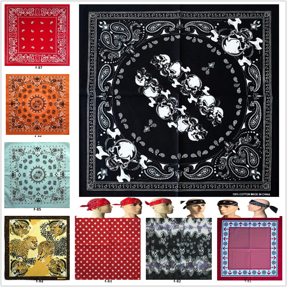 F51 Cotton Unisex Hip Hop Black Bandana Fashion Paisley Headwear Hair Band Neck Scarf Wrist Wraps Square Scarves Handkerchief