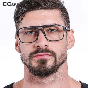 TR90 Retro kwadratowe okulary ramki mężczyźni kobiety optyczne moda komputerowe okulary 45844 tanie i dobre opinie CCspace Unisex Plastikowe tytanu Stałe