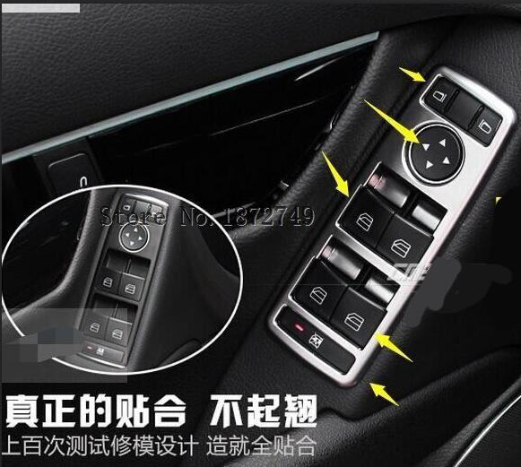 For Tesla model S ABS Inner Door Armrest Window Lift Switch Button Cover Trim 5pcs / set