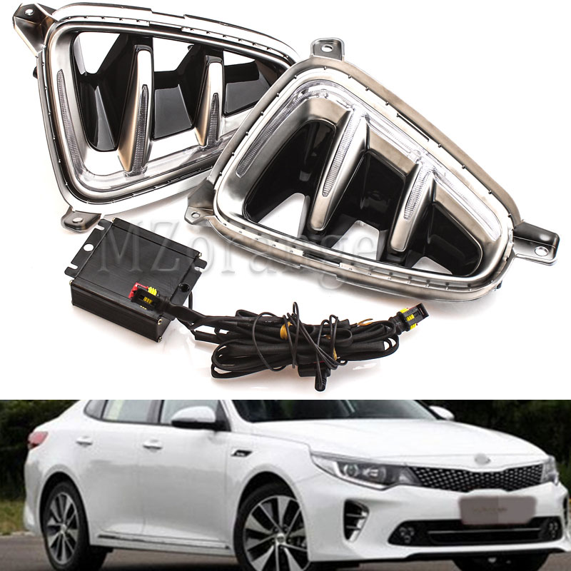 1 Pair DRL for Kia K5 Optima 2016 2017 LED Daytime Running Light Daylight Signal fog lamp Styling Auto Drive lights Car Style