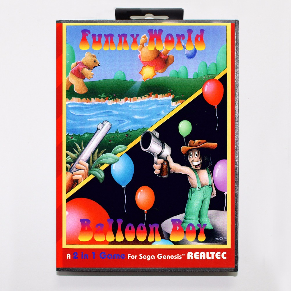 Funny World & Balloon Boy Game Cartridge 16 bit MD Game Card With Retail Box For Sega Mega Drive For Genesis